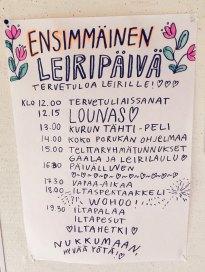 Ensimmäisen leiripäivän ohjelma