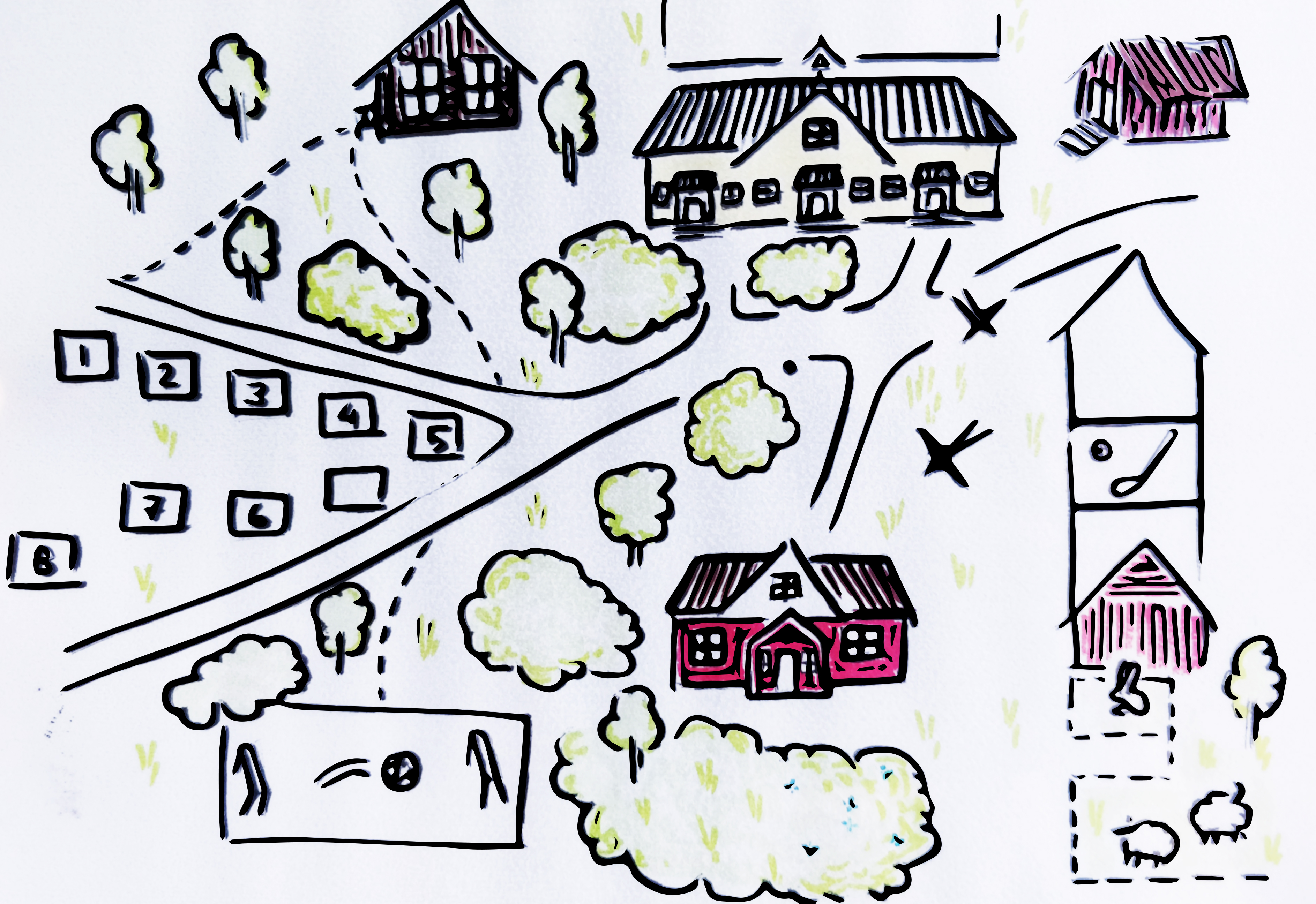 Leirikeskuksen yläpihan ja telttakylän kartta kartta